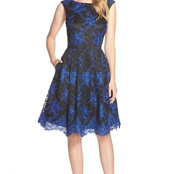 Women's Eliza J Belted Embroidered Lace Fit & Flare Dress,