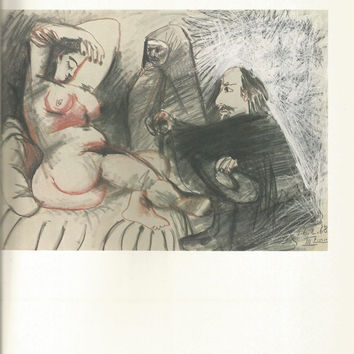"Pablo Picasso 1972 Vintage Lithograph Signed on the Plate Entitled ""Chez la Courtesane"" c. 1968 From Heller Gallery - Classic Picasso Nude"