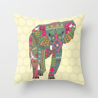 painted elephant straw spot Throw Pillow by Sharon Turner