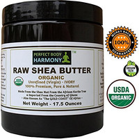 Unrefined Raw Shea Butter; Certified Organic; 17.5 oz BPA Free X Large Jar; Eczema, Acne Relief; Natural Noncomedogenic Face Moisturizer; Great Skin, Baby, Hair Product; Premium, African, Ivory (Tan)