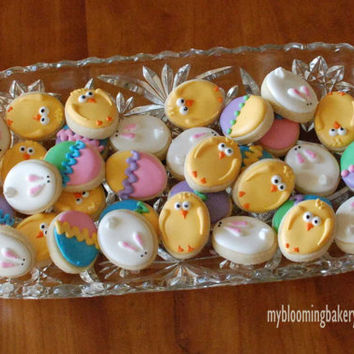 36 Mini Easter Sugar Cookies -Bunny - Chick - Easter Egg - Three Dozen Rolled Sugar Cookies