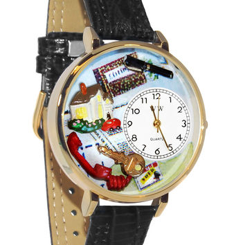 Whimsical Watches Designed Painted Realtor Black Skin Leather And Silvertone Watch