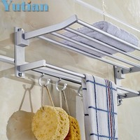 Bathroom towel holder Foldable towel rack oxidation aluminium towel rack with hooks YT-4003
