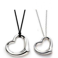 Double Heart Couple Necklace,High End Fashion Jewelry,925 Sterling Silver,Male Leather Cord & Female Siver Chain ON34