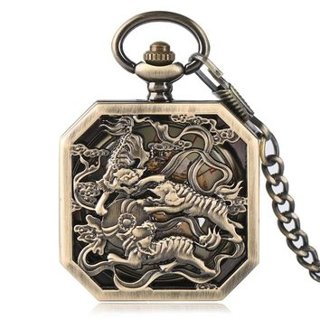 Steampunk Awesome Fighting Tigers Pendant Square Shape Vintage Mechanical Pocket Watches Men's Women's Watch Nursing Clock Gifts