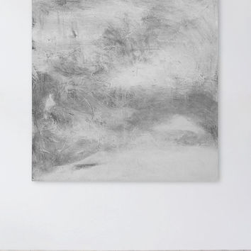 Large White and Gray Abstract Painting, 36 x 36