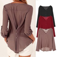 Women Chiffon Casual Long Sleeve Shirts Blouse