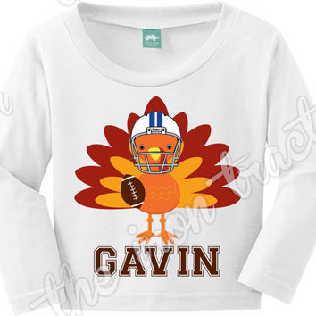 Turkey with Helmet and Football Thanksgiving Transfer / Onesuit / Shirt / Bib ~ First Thanksgiving