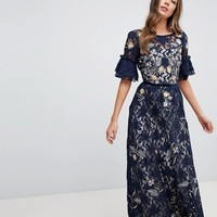 Frock And Frill Tall Allover Floral Embroidered Lace Maxi Dress With Flutter Sleeve at asos.com
