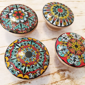 Mandala Knobs, Set of 4 Red Blue Gold Mandala Knobs, Round Drawer Pulls, Colorful Dresser Knobs, Oriental Mandala Designs, Made To Order