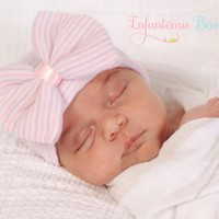 Lavender & Pink Striped Bow Newborn Boutique Hospital Hat