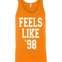 Feels Like '98 Shirt Canvas Unisex Tank Shirt - TeeVNN: Shop T-Shirts for Men, Women, Kid Online