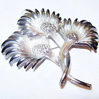 "Thistle Flower Brooch Signed Lisner Silver Plated Metal BIG Bold 2 3/4"" Vintage 1950s"