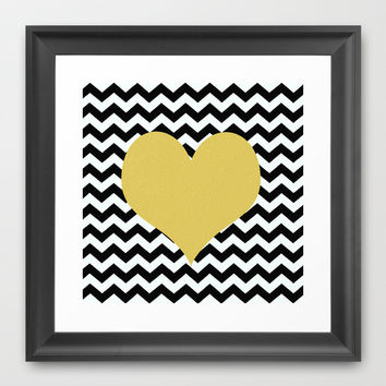 Gold Heart Framed Art Print by Haroulita