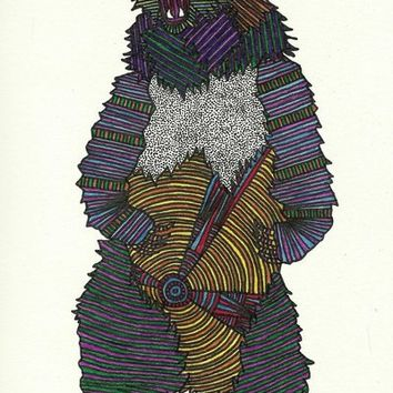 Technicolor Grizzly Bear - Marker Art Art Print by BrickHouseArt | Society6