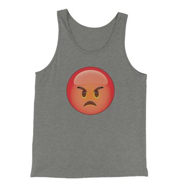 Color Emoticon - Red Angry Face Smiley Jersey Tank Top for Men