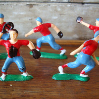 Vintage Retro Baseball Players Cake Toppers From The 1950s  Plastic Lot 5