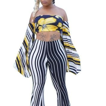 Strappy Bandeau Top and Wide Legs Trousers
