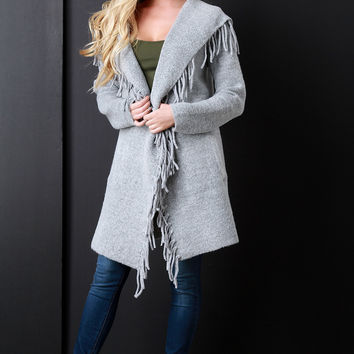 Thick Knit Wide Collar Fringe Pocketed Longline Cardigan