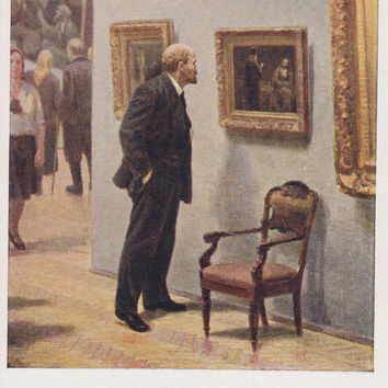 "A. Semyashkin ""Vladimir Lenin at the Tretyakov Gallery"" Postcard -- 1958. Condition 9/10"