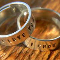 I love you, I know Han Solo and Leia quote from star wars empire strikes back, hand stamped aluminum wrap 2 rings 1/4 inch