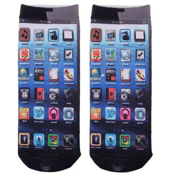 iPhone Print Ankle Socks One Size Fits All