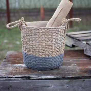 Natural & Grey Large Braided Cement Planter With Jute Handles