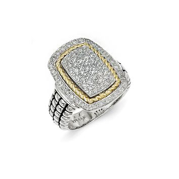 Antique Style Sterling Silver with 14k Gold 1/4ct. Diamond Ring