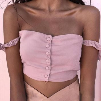 Chelsea Button-Down Crop Top