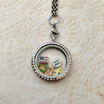 Living locket large silver stainless with crystals Army Mom