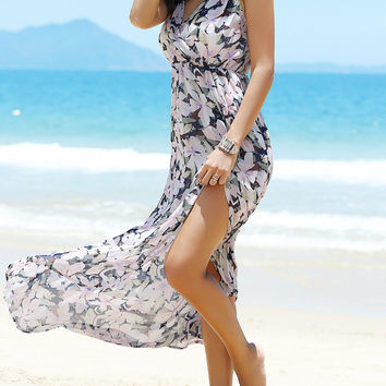 Backless Floral Pattern High-Slit Swing Dress