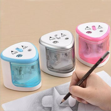 New Automatic Two-hole Pencil Sharpener Home School Office Desktop Electric Pencil Sharpener