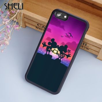 SHELI Cartoon Kissing Mickey Minnie Mouse design Phone Case Cover For iPhone 6 6S 7 8 Plus X 5S SE Samsung Galaxy S6 S7 S8 edge