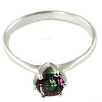 SR311, 1ct Mystic Fire Topaz set in a Tiffany Style Sterling SIlver Ring