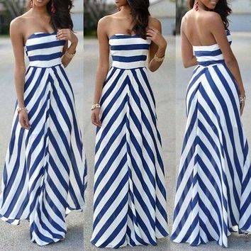 Blue and White Stripe Chiffon Strapless Maxi Dress