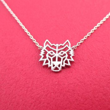 Direwolf Dye Cut Wolf Shaped Pendant Necklace in Silver