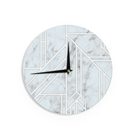 "KESS Original ""Marble Mosaic"" Geometric Digital Wall Clock"