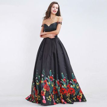 Black Floral Print Prom Dresses Two Piece Boat Neck Beading Formal Floor Length Evening Dress Ball Gowns
