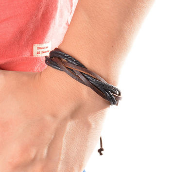 Surfer Tribal Wrap Multilayer Leather Cuff Bracelet For Women Man Leather Bracelet Fashion Men Women Fine Jewelry 1PC