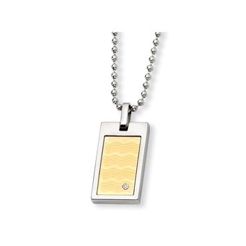 Diamond Gold Accent Rectangle Pendant Necklace in Stainless Steel - Lobster Claw
