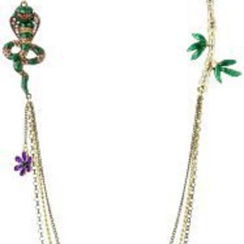 """Betsey Johnson """"Asian Jungle"""" Cobra and Bamboo 35 Inch Long Necklace"""