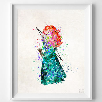 Brave Print, Merida Poster, Type 2, Princess, Disney Print, Watercolor Art, Disney Princess, Nursery Art, Baby Room, Halloween Decor