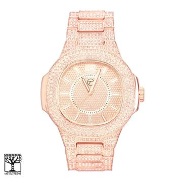 Jewelry Kay style Men's CZ Iced Out Fashion Rose Gold Plated Metal Band Hip Hop Watch WM 8681 RG