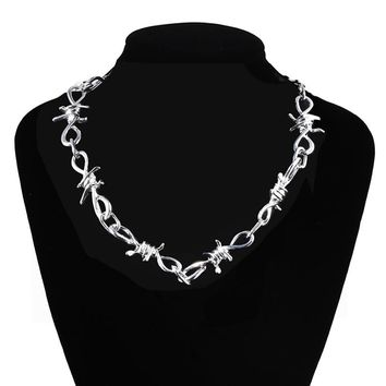 Goth/Punk Chunky Silver Barbed Wire Choker Necklace