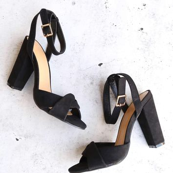 Black Suede Front Knot Ankle Strap Heels