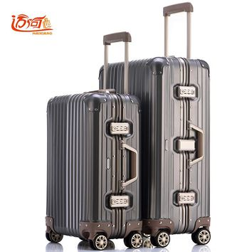 100% fully Aluminum-magnesium alloy koffers trolleys koffers 20/25 inch aluminum suitcase for woman and man cabin luggage