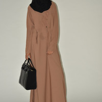 Cappuccino Brown, Black Buttoned Abaya