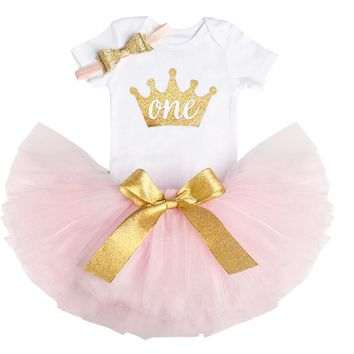 Baby Girl 1st Birthday Dress Outfits Sets Little Girl Party Wear Tutu Newborn Baby Girl Infant Clothing Sets Kids Tull Costume