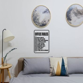 Office Rules Funny Sign Vinyl Wall Decal - Removable (Indoor)