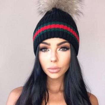 Color Block Faux Fur Pom Knitted Hat